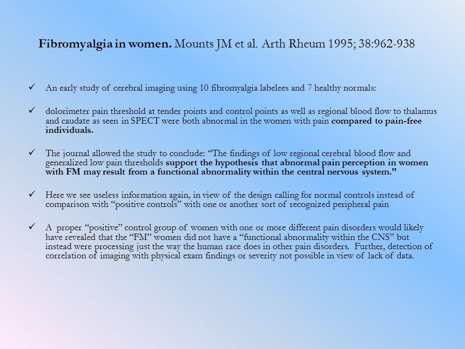 Fibromyalgia in women. Mounts JM et al.