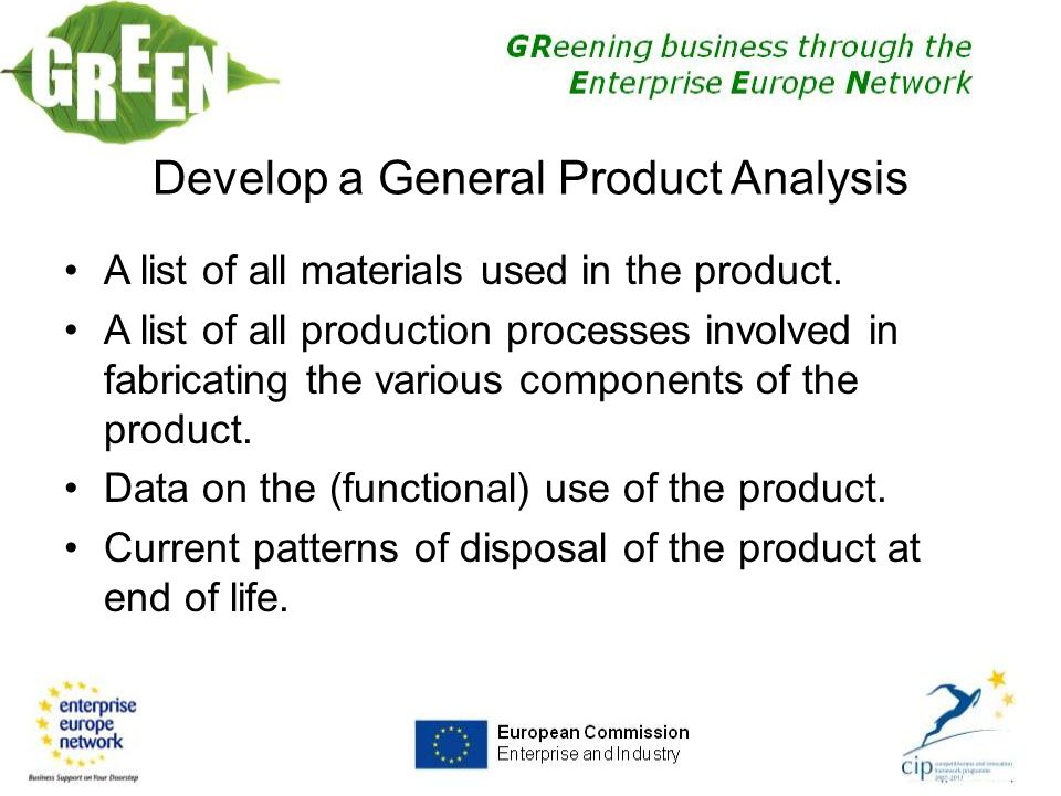 A list of all materials used in the product.