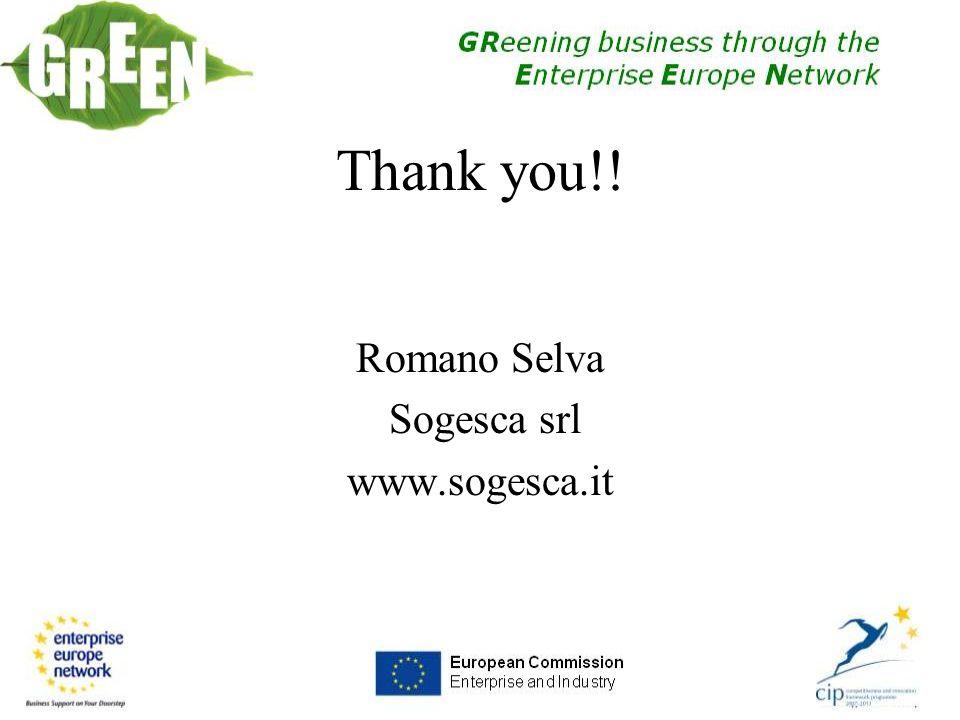 Thank you!! Romano Selva Sogesca srl www.sogesca.it
