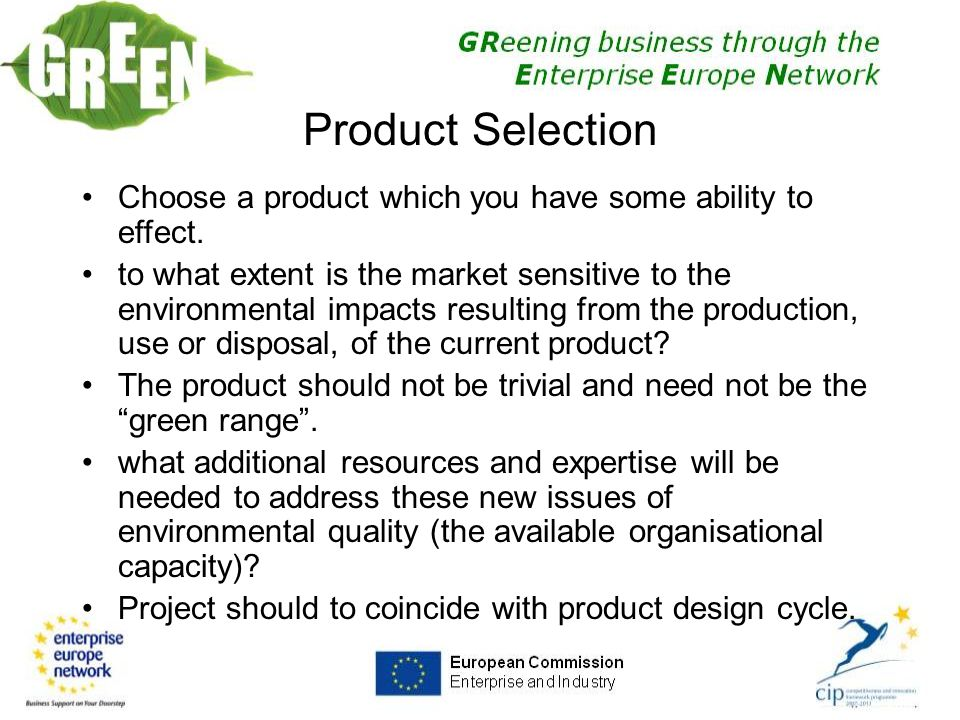 Product Selection Choose a product which you have some ability to effect.