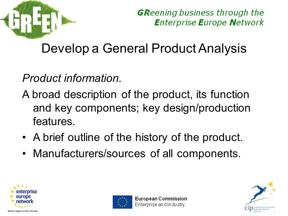 Develop a General Product Analysis Product information.