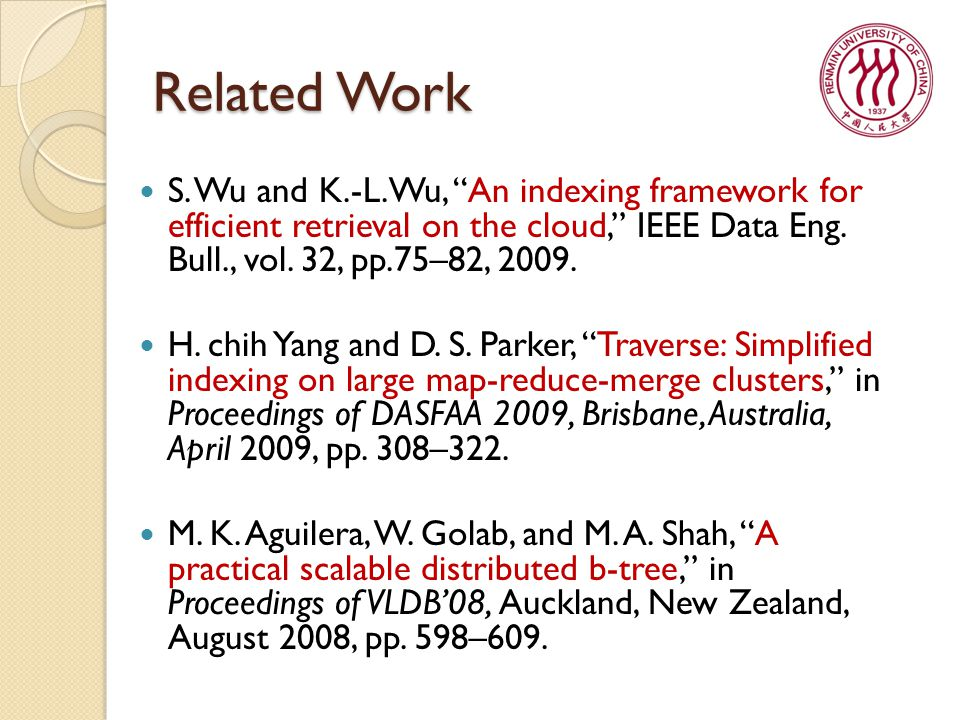Related Work S. Wu and K.-L.