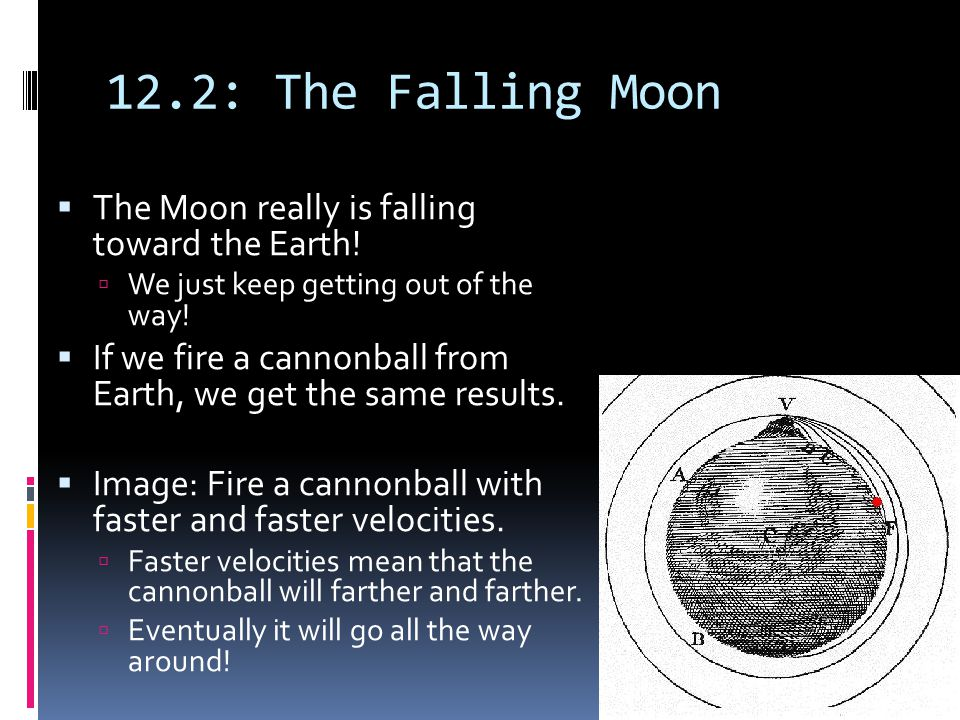 12.2: The Falling Moon  The Moon really is falling toward the Earth!  We just keep getting out of the way!  If we fire a cannonball from Earth, we