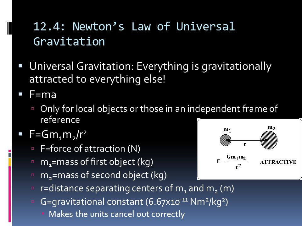 12.4: Newton's Law of Universal Gravitation  Universal Gravitation: Everything is gravitationally attracted to everything else!  F=ma  Only for loc