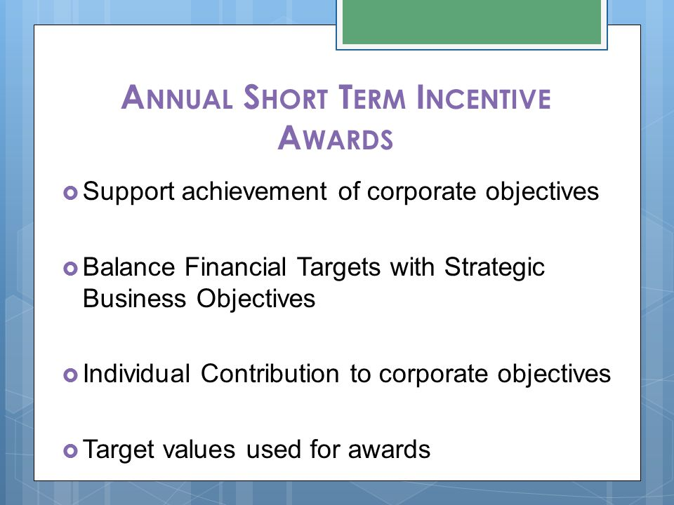 A NNUAL S HORT T ERM I NCENTIVE A WARDS  Support achievement of corporate objectives  Balance Financial Targets with Strategic Business Objectives  Individual Contribution to corporate objectives  Target values used for awards