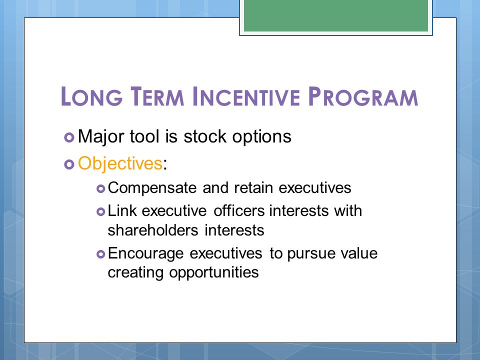 L ONG T ERM I NCENTIVE P ROGRAM  Major tool is stock options  Objectives:  Compensate and retain executives  Link executive officers interests wit