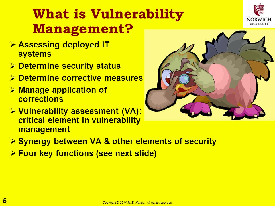 5 Copyright © 2014 M. E. Kabay. All rights reserved. What is Vulnerability Management?  Assessing deployed IT systems  Determine security status  D