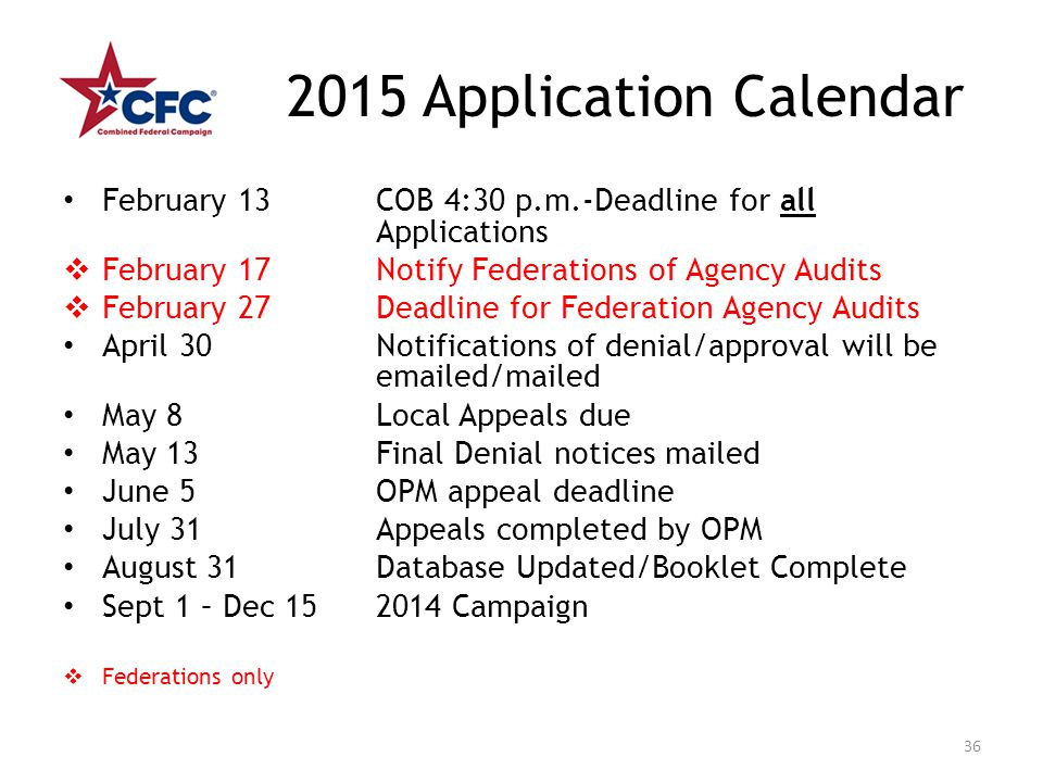 2015 Application Calendar February 13 COB 4:30 p.m.-Deadline for all Applications  February 17 Notify Federations of Agency Audits  February 27Deadl