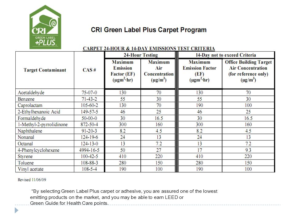 *By selecting Green Label Plus carpet or adhesive, you are assured one of the lowest emitting products on the market, and you may be able to earn LEED or Green Guide for Health Care points.