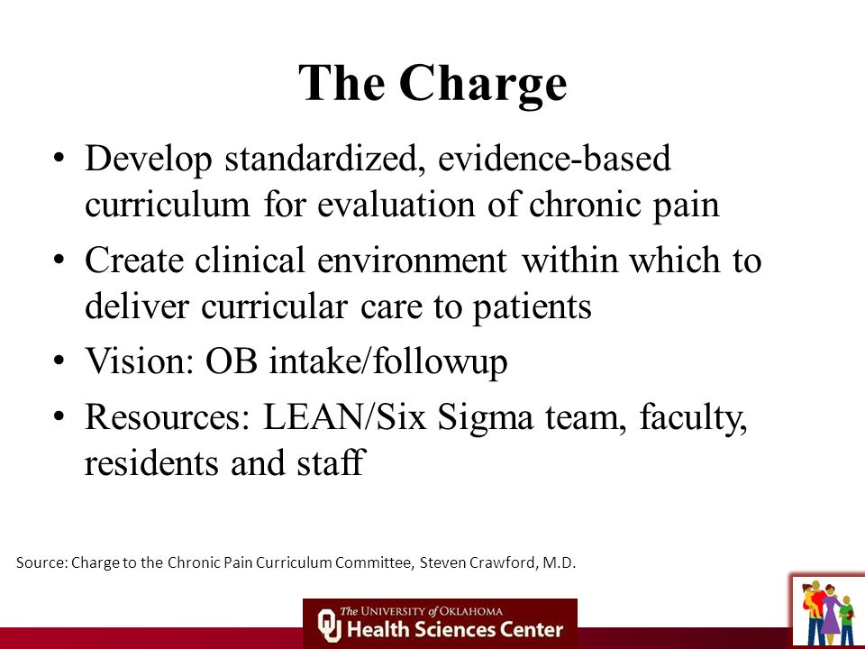 The Charge Develop standardized, evidence-based curriculum for evaluation of chronic pain Create clinical environment within which to deliver curricular care to patients Vision: OB intake/followup Resources: LEAN/Six Sigma team, faculty, residents and staff Source: Charge to the Chronic Pain Curriculum Committee, Steven Crawford, M.D.