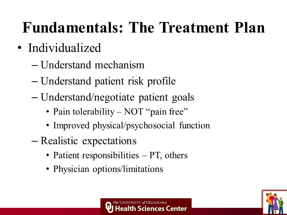 Fundamentals: The Treatment Plan Individualized – Understand mechanism – Understand patient risk profile – Understand/negotiate patient goals Pain tolerability – NOT pain free Improved physical/psychosocial function – Realistic expectations Patient responsibilities – PT, others Physician options/limitations