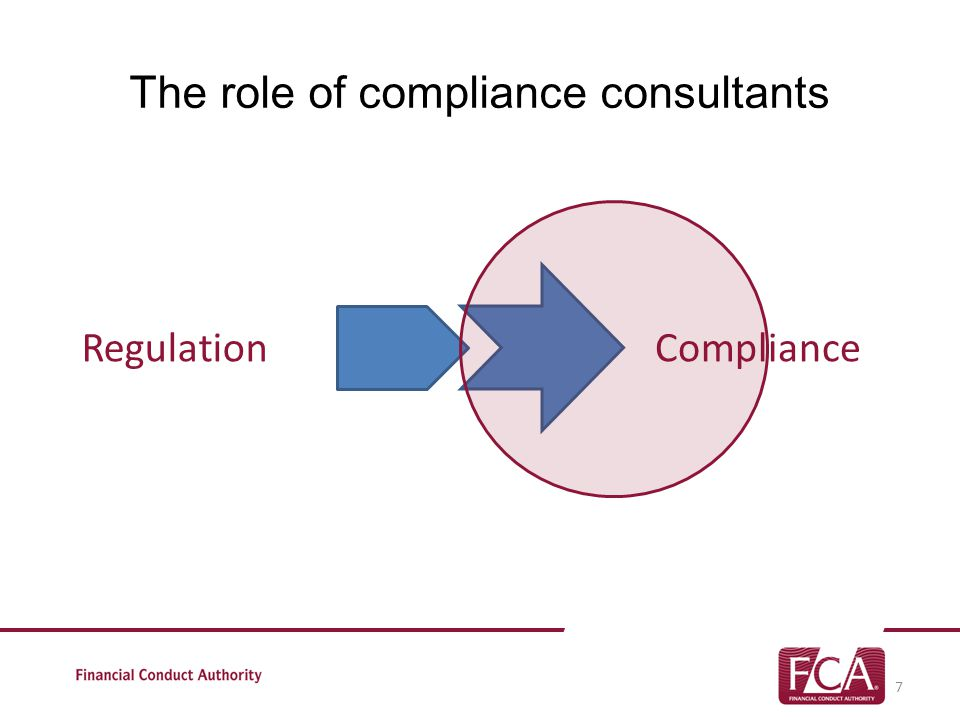 The role of compliance consultants 7 RegulationCompliance