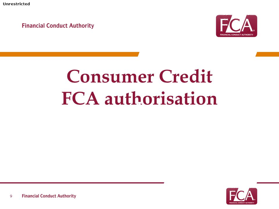 Unrestricted Consumer Credit FCA authorisation 9