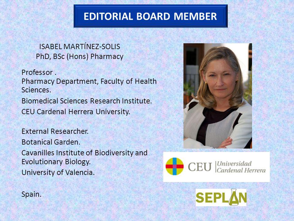 ISABEL MARTÍNEZ-SOLIS PhD, BSc (Hons) Pharmacy Professor.