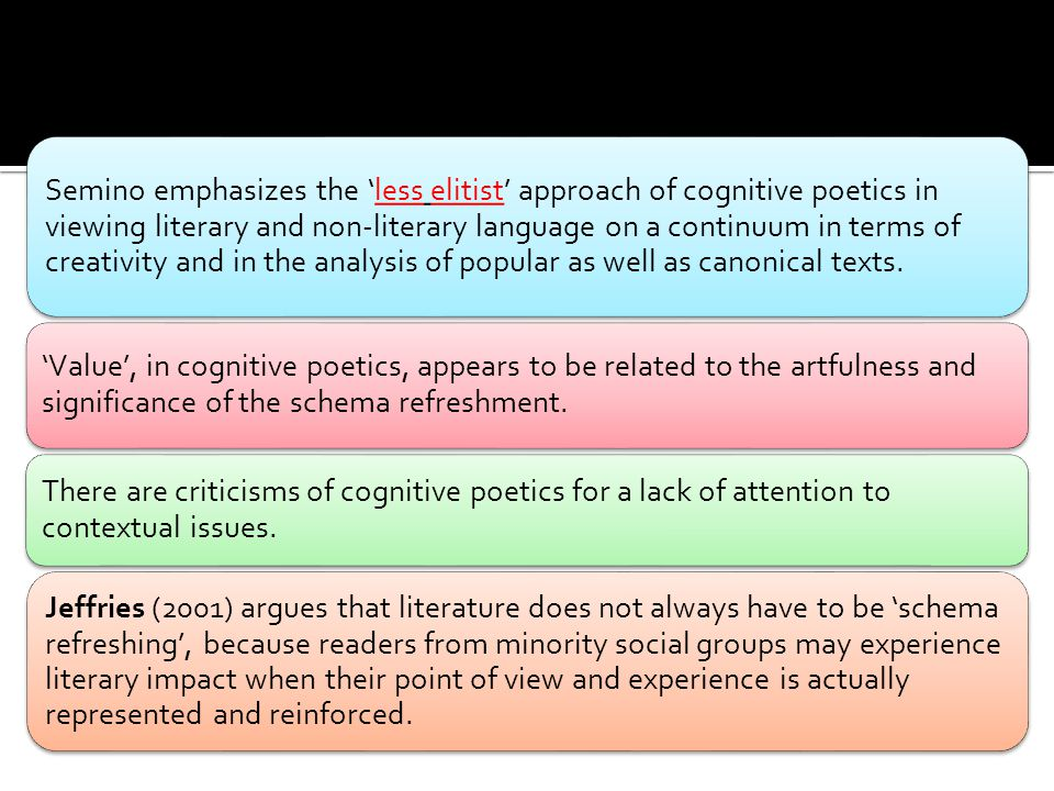 Semino emphasizes the 'less elitist' approach of cognitive poetics in viewing literary and non-literary language on a continuum in terms of creativity