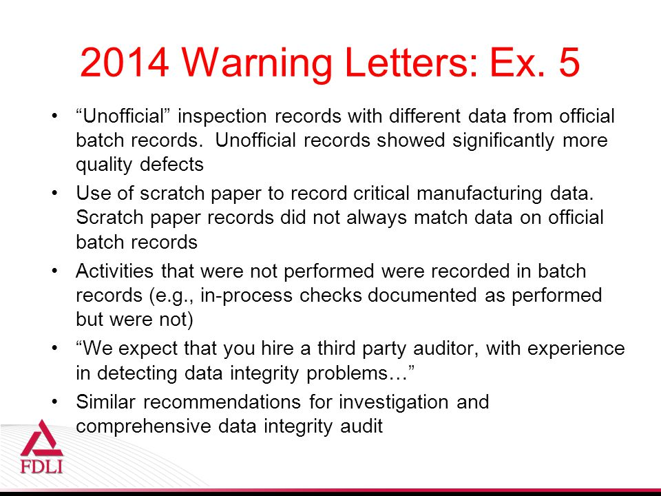 2014 Warning Letters: Ex.