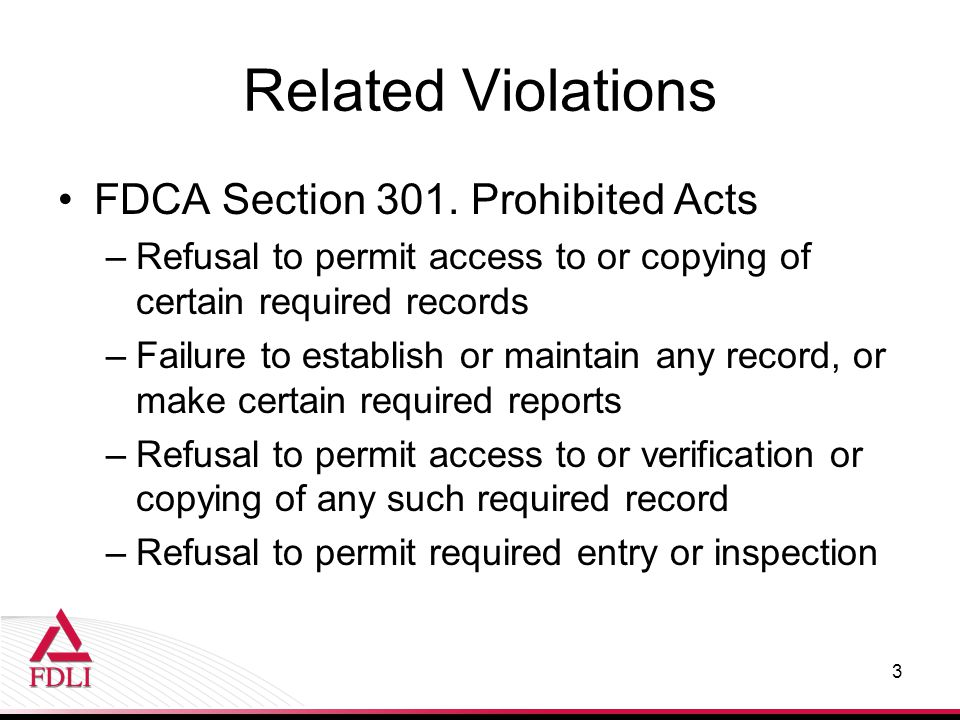 FDCA Section 301.