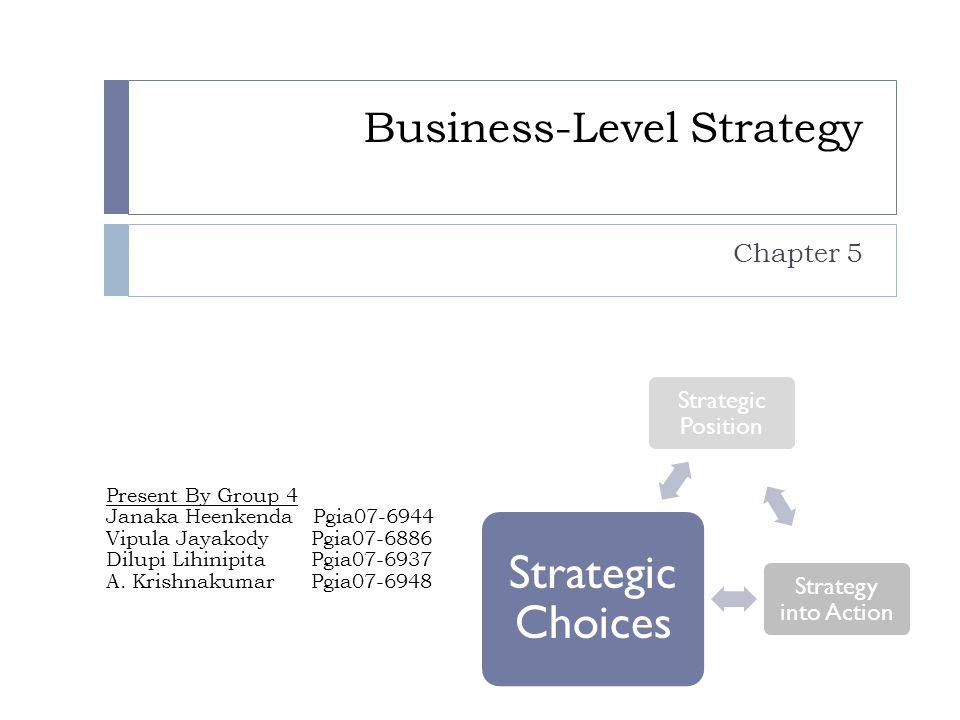 Business-Level Strategy Chapter 5 Present By Group 4 Janaka Heenkenda Pgia07-6944 Vipula Jayakody Pgia07-6886 Dilupi Lihinipita Pgia07-6937 A.