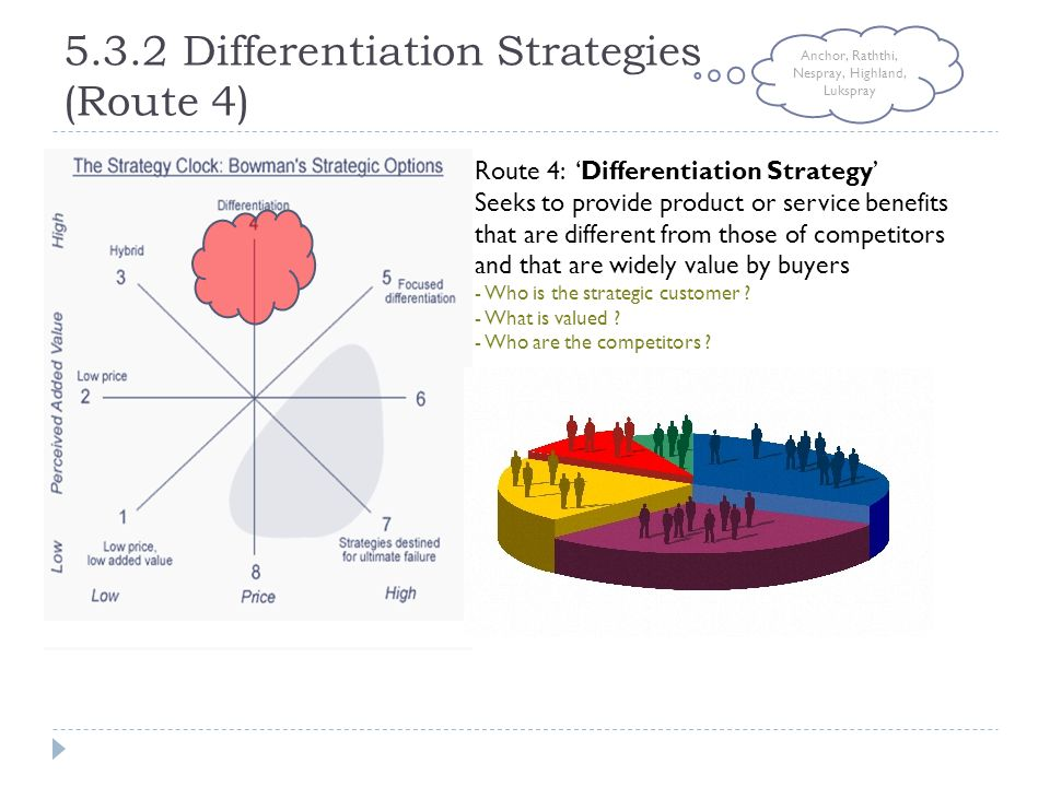 5.3.2 Differentiation Strategies (Route 4) Route 4: 'Differentiation Strategy' Seeks to provide product or service benefits that are different from th