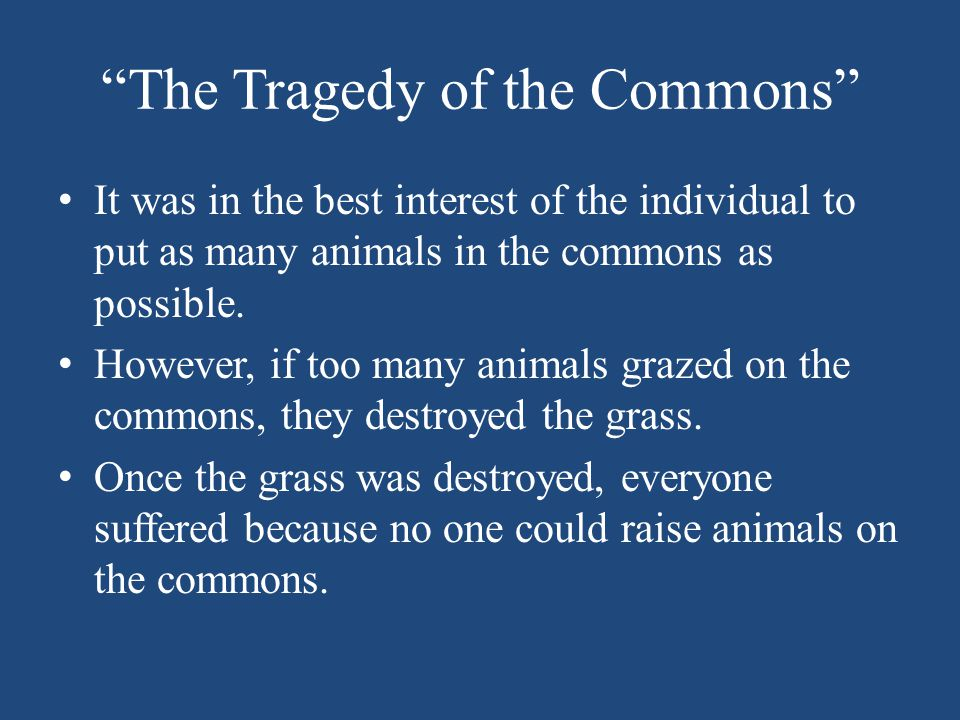 """The Tragedy of the Commons"" It was in the best interest of the individual to put as many animals in the commons as possible. However, if too many ani"