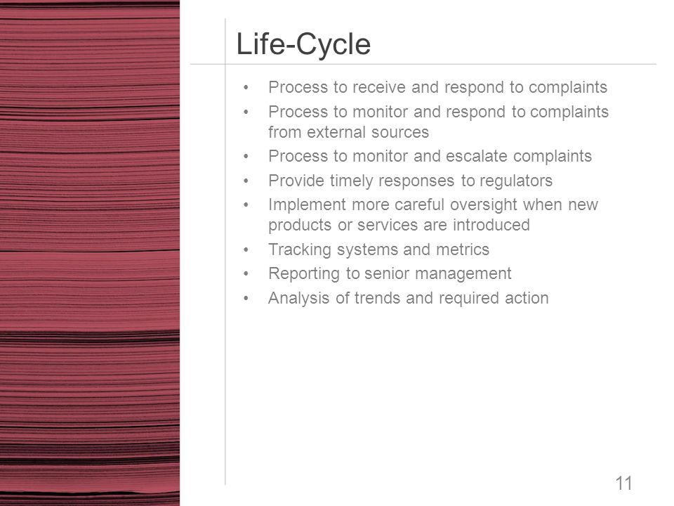 Life-Cycle 11 Process to receive and respond to complaints Process to monitor and respond to complaints from external sources Process to monitor and e