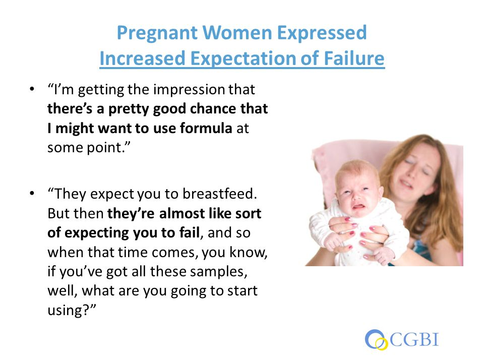 "Pregnant Women Expressed Increased Expectation of Failure ""I'm getting the impression that there's a pretty good chance that I might want to use formu"