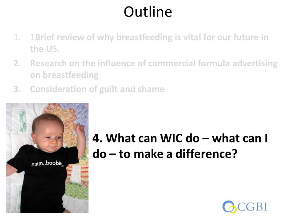 Outline 1.1Brief review of why breastfeeding is vital for our future in the US.