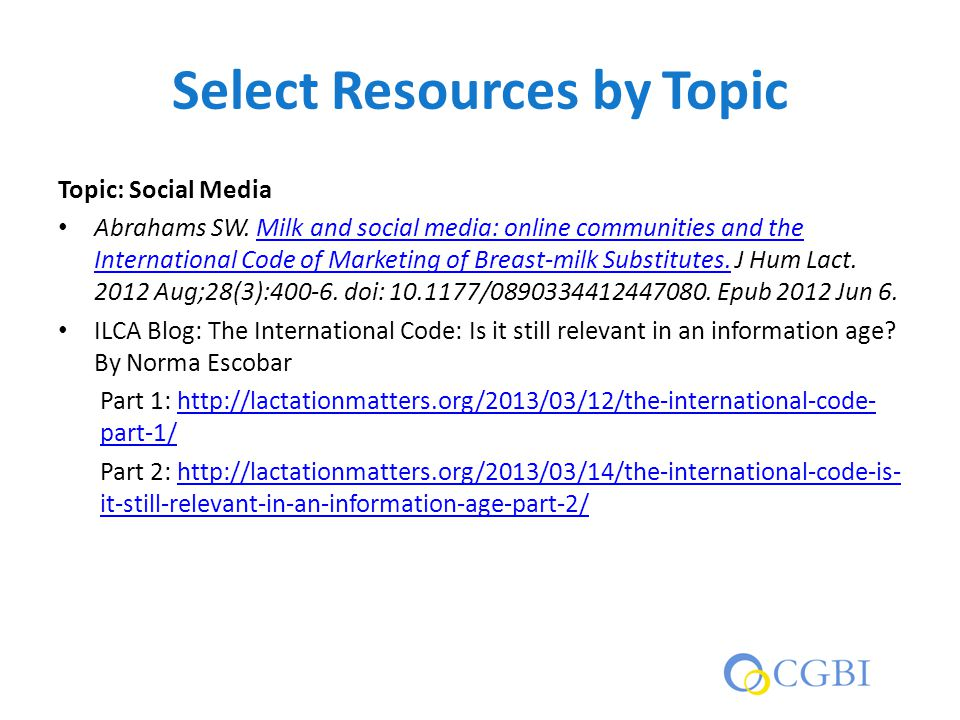 Select Resources by Topic Topic: Social Media Abrahams SW.
