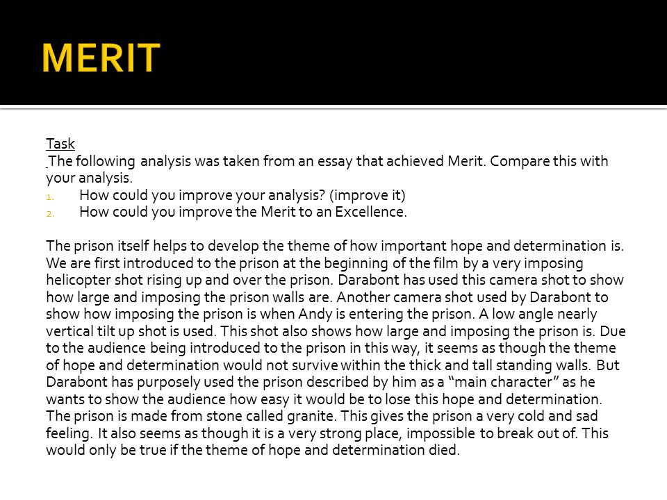 Task The following analysis was taken from an essay that achieved Merit.