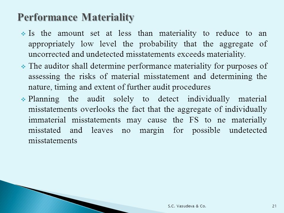  Is the amount set at less than materiality to reduce to an appropriately low level the probability that the aggregate of uncorrected and undetected misstatements exceeds materiality.