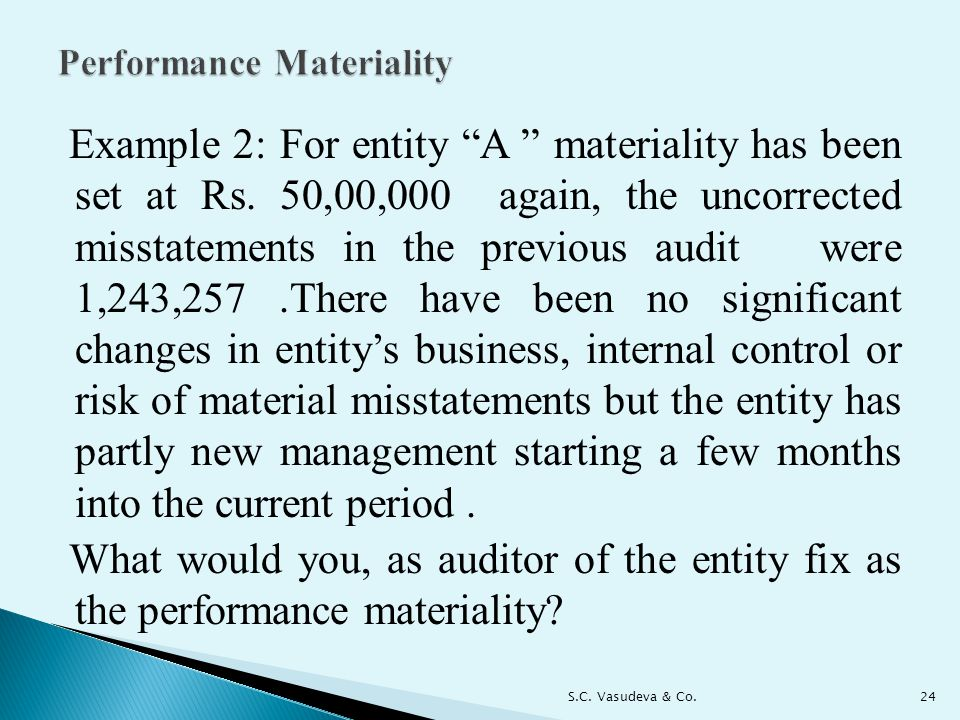 Example 2: For entity A materiality has been set at Rs.