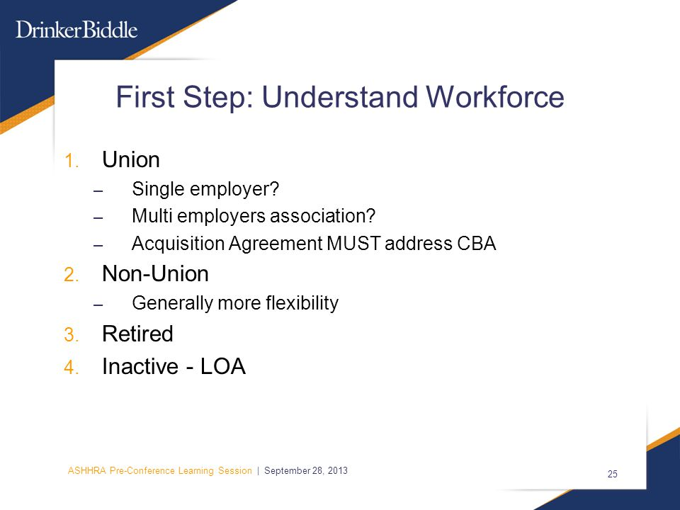 ASHHRA Pre-Conference Learning Session | September 28, 2013 25 First Step: Understand Workforce 1.