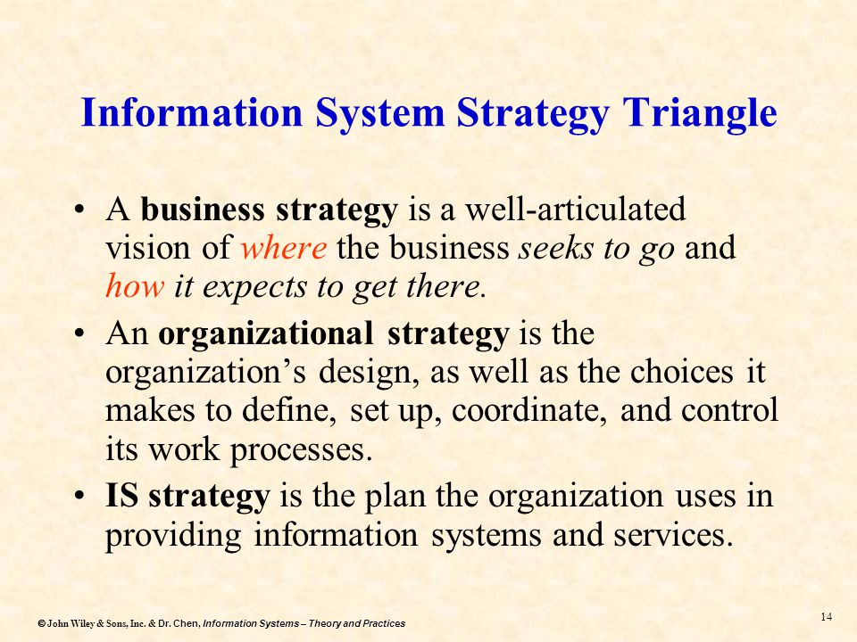 Dr. Chen, Information Systems – Theory and Practices  John Wiley & Sons, Inc. & Dr. Chen, Information Systems – Theory and Practices 13 Information