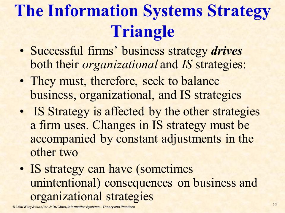 Dr. Chen, Information Systems – Theory and Practices  John Wiley & Sons, Inc. & Dr. Chen, Information Systems – Theory and Practices 14 Information