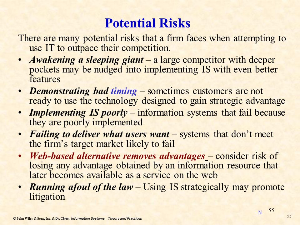 Dr. Chen, Information Systems – Theory and Practices  John Wiley & Sons, Inc. & Dr. Chen, Information Systems – Theory and Practices 54 Q#5 (Extra)