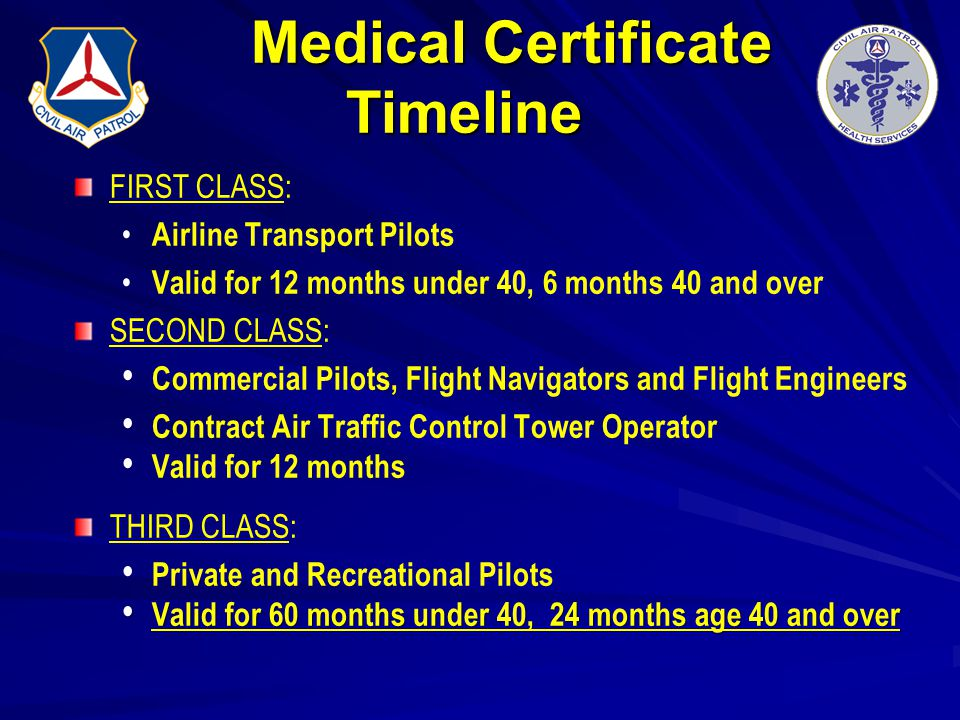 Medical Certificate Timeline FIRST CLASS: Airline Transport Pilots Valid for 12 months under 40, 6 months 40 and over SECOND CLASS: Commercial Pilots,
