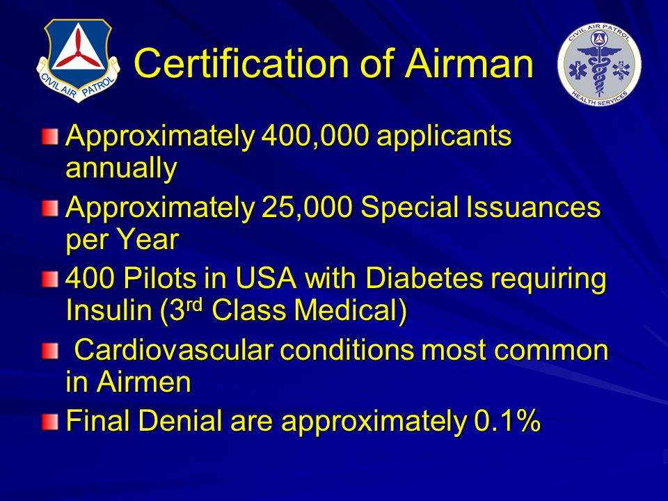 Certification of Airman Approximately 400,000 applicants annually Approximately 25,000 Special Issuances per Year 400 Pilots in USA with Diabetes requ
