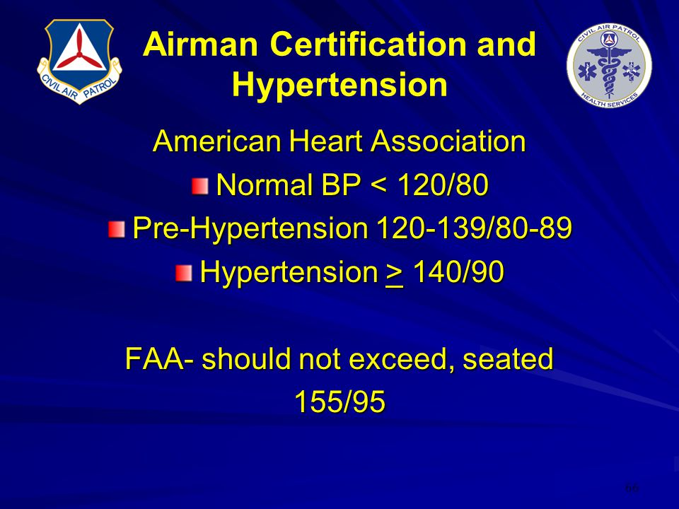 66 Airman Certification and Hypertension American Heart Association Normal BP < 120/80 Pre-Hypertension 120-139/80-89 Hypertension > 140/90 FAA- shoul