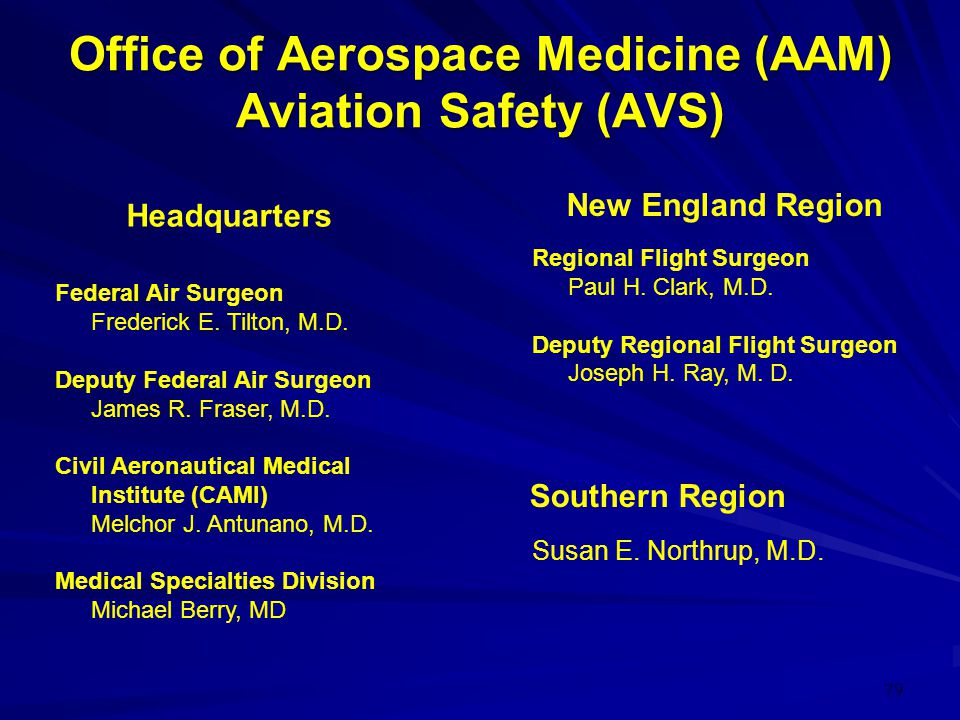 79 Office of Aerospace Medicine (AAM) Aviation Safety (AVS) Federal Air Surgeon Frederick E. Tilton, M.D. Deputy Federal Air Surgeon James R. Fraser,