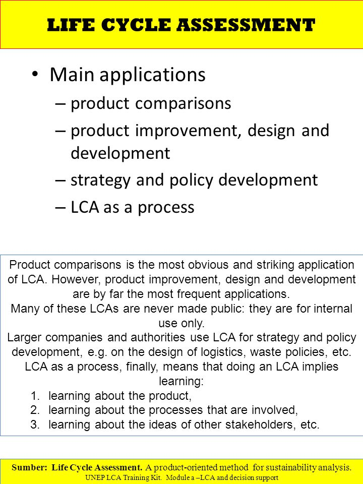 Main applications – product comparisons – product improvement, design and development – strategy and policy development – LCA as a process Sumber: Life Cycle Assessment.