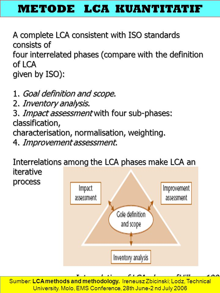 A complete LCA consistent with ISO standards consists of four interrelated phases (compare with the definition of LCA given by ISO): 1.