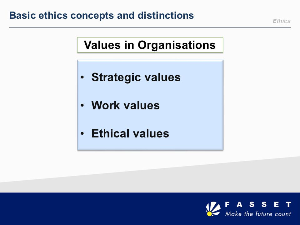Ethics Basic ethics concepts and distinctions Values in Organisations