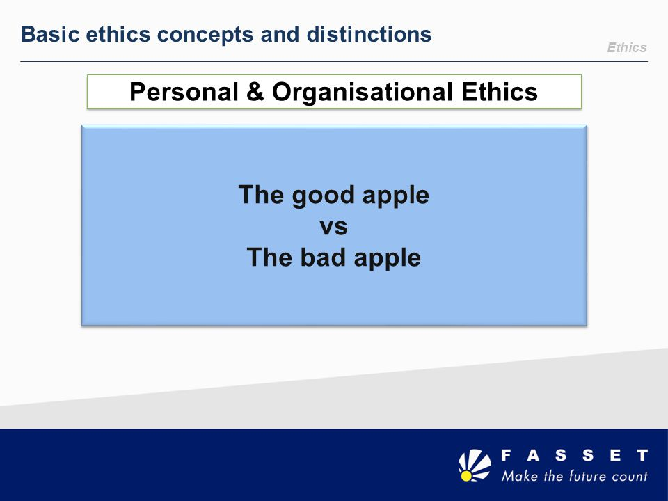 Ethics Basic ethics concepts and distinctions Personal & Organisational Ethics The good apple vs The bad apple The good apple vs The bad apple