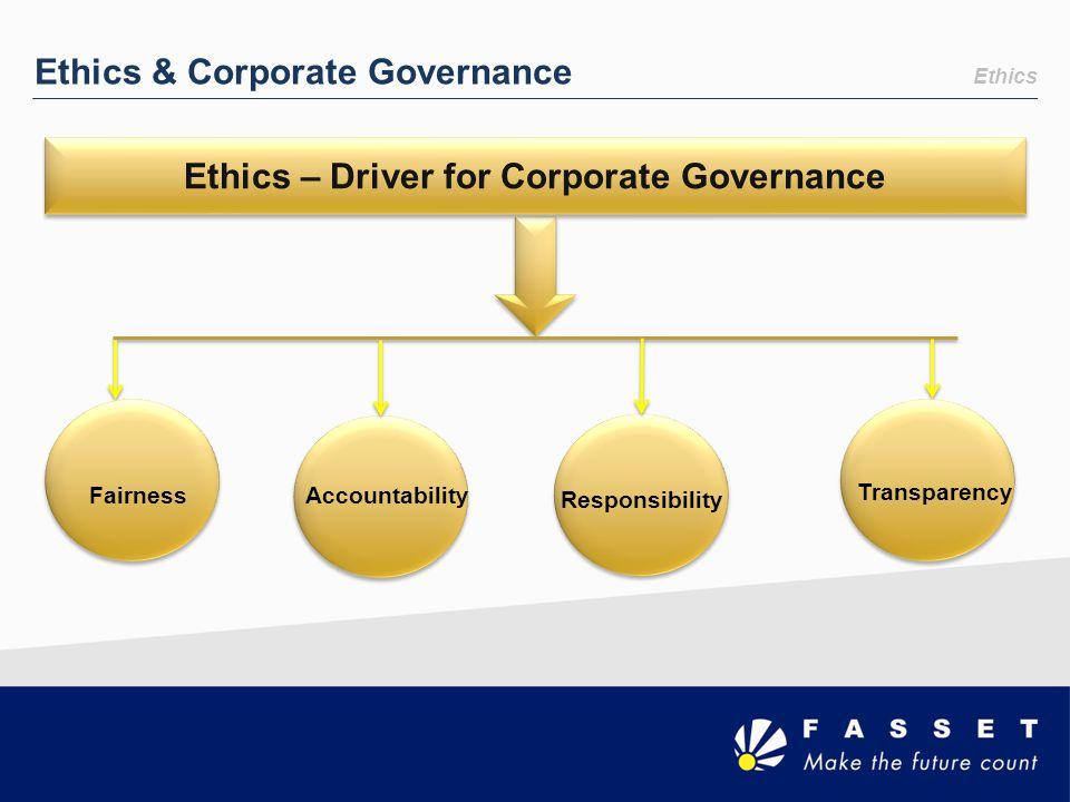 Ethics & Corporate Governance FairnessAccountability Responsibility Transparency Ethics – Driver for Corporate Governance Ethics
