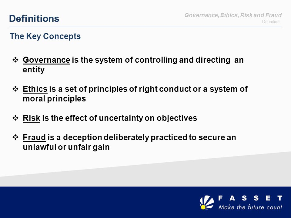 Risk King III and the Risk Management Process Chapter 7 INTERNAL AUDIT 7.1 Effective Risk Based Internal Audit 7.2 Implement a Risk Based Audit Plan 7.3 Assessment of Systems of Internal Control and Risk 7.4 Audit Committee to Oversee Internal Audit 7.5 Internal Audit Strategically Positioned Chapter 4 RISK MANAGEMENT 4.1 Board is Responsible for Risk 4.2 Set Levels of Tolerance 4.4 Management must Design & Implement Risk Plan 4.5 Perform Risk Assessment 4.6 Implement a Framework 4.3 Assisted by Risk Committee 4.7 Respond Appropriately 4.8 Monitor Risk Continuously 4.9 Provided Assurance on Effectiveness of the Risk Process 4.10 Adequate Risk Disclosure to Stakeholders King III requires the segregation of Internal Audit and Risk Management Functions