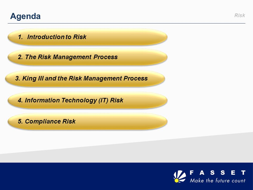 Agenda 5. Compliance Risk 1.Introduction to Risk 2. The Risk Management Process 3. King III and the Risk Management Process 4. Information Technology
