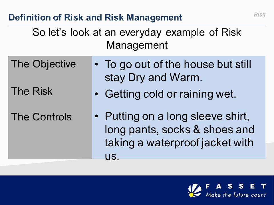 Risk Definition of Risk and Risk Management So let's look at an everyday example of Risk Management The Objective The Risk The Controls To go out of t