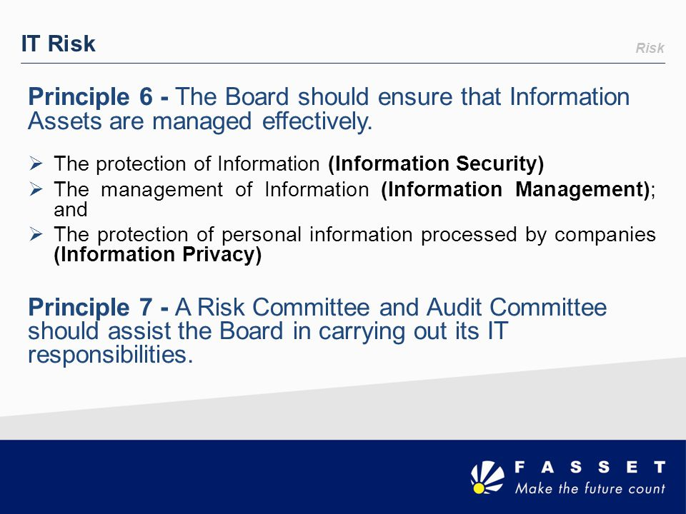 Risk IT Risk Principle 6 - The Board should ensure that Information Assets are managed effectively.  The protection of Information (Information Secur