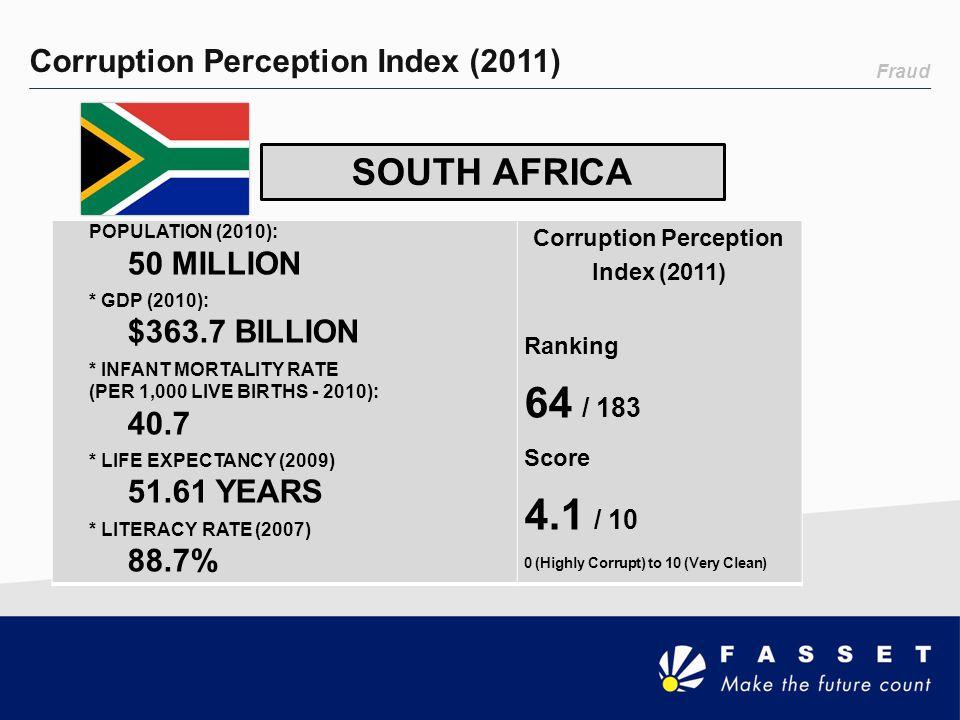 Fraud Corruption Perception Index (2011) SOUTH AFRICA POPULATION (2010): 50 MILLION * GDP (2010): $363.7 BILLION * INFANT MORTALITY RATE (PER 1,000 LI