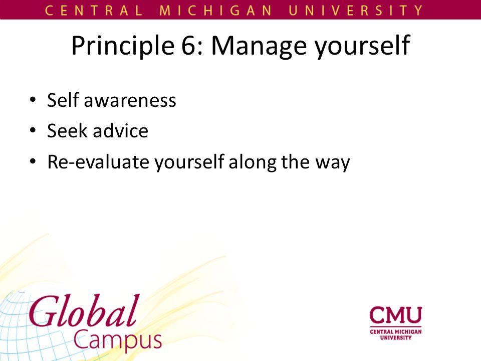 Principle 6: Manage yourself Self awareness Seek advice Re-evaluate yourself along the way